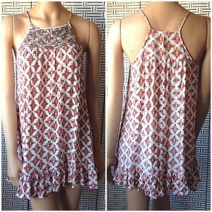 En Creme Beaded Boho Print Mini Dress